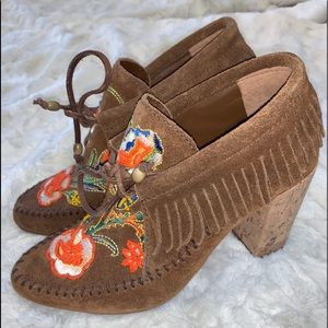 Tory Burch embroidered Huntington Fringe booties